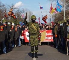 По Одессе промаршировала колонна пророссийских активистов