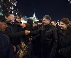 Накануне Петр Порошенко посетил главную ёлку Киева