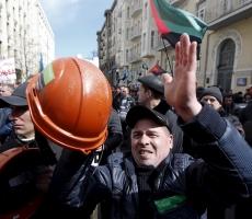 В Киеве среди всех митингующих была только половина шахтеров